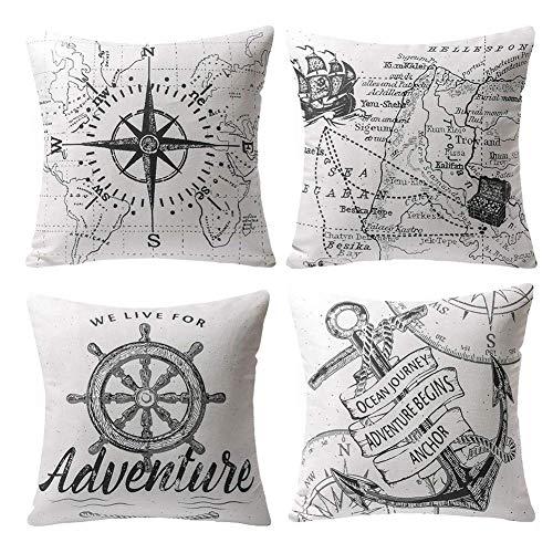 Gspirit 4 Stück Kissenbezug Schwarz & weiß Segeln Navigation Kompass Dekorative Kissenhülle Baumwolle Leinen Werfen Sie Kissenbezüge 45x45 cm