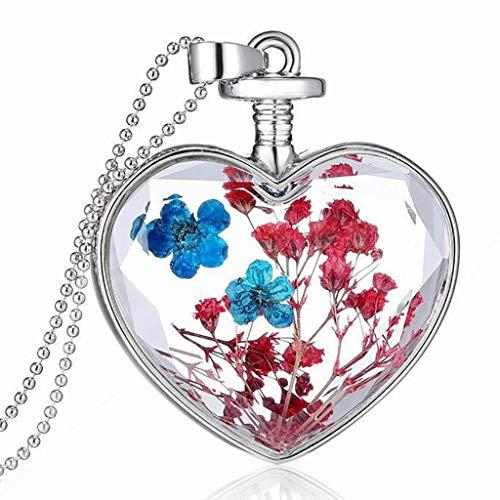 Hmlai Clearance! Women Dry Flower Heart Glass Wishing Bottle Pendant Necklace Mother