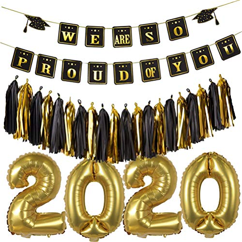 VALICLUD Creative 25Pcs 2020 Graduation Party Banner and Balloons Set Glitter Paper Wafer Hanging Garland Printing Bunting Balloons Prom Party Flag Photo Props
