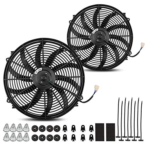 (2 Packs) Universal High Performance Reversible 2x16'' Electric Engine Radiator Cooling Fan S-Curved Blades with Mounting Hardware 2500 CFM12V 10 Amps 120 Watts
