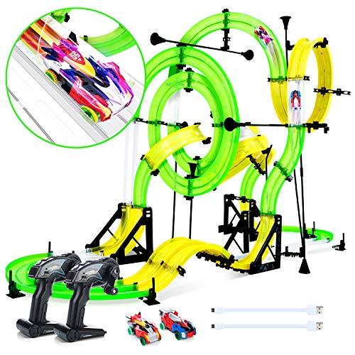 Peradix Autorennbahn Und Rennstrecke mit 2xFahrzeugen -DIY Auto Rennbahn mit 2 Loopings -Spielzeugauto für Kinder ab 6 Jahren,Mehrweg