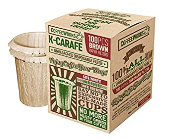 Disposable Natural Brown Unbleached Paper Coffee Filters - Replacement Filters For Keurig 2.0 Brewers - Compatible with All Reusable K-Carafe Pods - Serves 4 Cups - Use Your Own Coffee  100 Filters