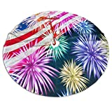 Christmas Tree Skirt, American Flag Patriotic Xmas Large Tree Mat, New Year Festive Holiday Party Decorations 48' inches