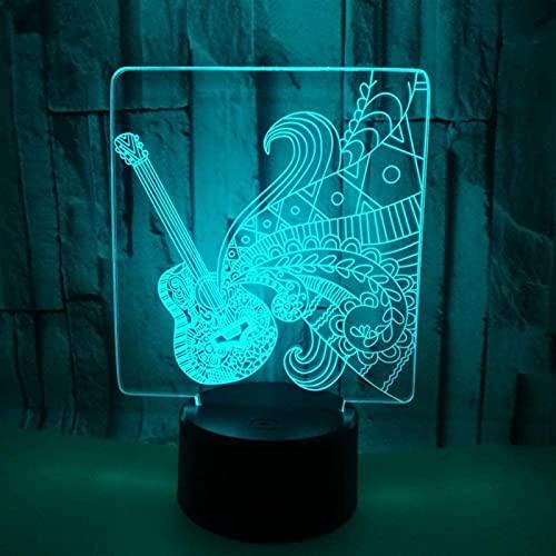 CMMT Lámpara de Mesa Guitarra LED Lámpara Colorido Gradiente 3D Estereoscópico Toque USB Luz Nocturna Lado de la Cama Escritorio Imaginativamente Decorado Regalo de Cumpleaños 20 * 13cm