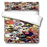 SLQL Juego de ropa de cama Anime Themed con diseño de calaveras, 3 piezas, 1 funda nórdica y 2 fundas de almohada de microfibra suave de 135 x 200 cm