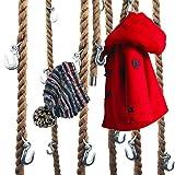 LeTOMA Garderobe aus Jute-Seil mit Metall-Haken zum aufhängen an der Decke im Industrial-Design - Praktisch, elegant und platzsparend - 1x Tau-Schnur 160cm lang und 5 robuste Kranhaken aus Stahl