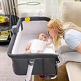 Baby Bedside Bassinet, RONBEI Bedside Crib, Babies Bed to Bed Sleeper for Infant, Boys, Girls, Newborn, Height Adjustable Portable Bassinet (Music Box)