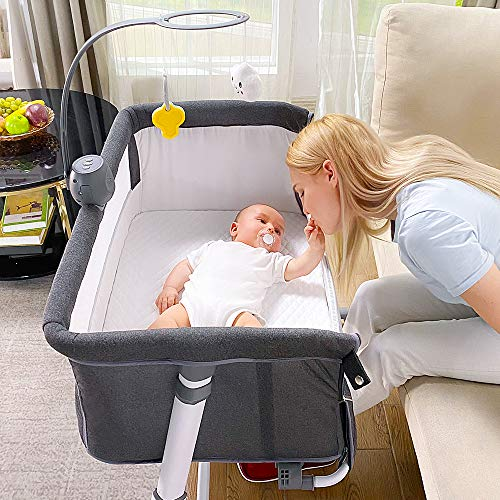 Baby Bedside Bassinet RONBEI Bedside Crib Babies Bed to Bed Sleeper for Infant Boys Girls Newborn Height Adjustable Portable Bassinet Music Box