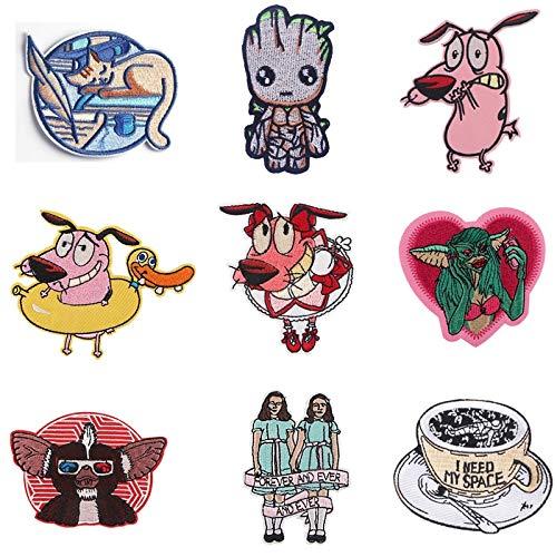 BLOUR 10 unids/Lote G1182 Pegatinas de Bordado de Personajes de película de Terror de Dibujos Animados Parche de Hierro para Accesorios de Ropa Parche con Aplique de Animales