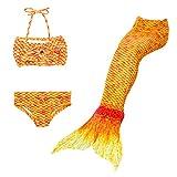 Lito Angels Traje de baño de Sirena de 3 Piezas para niñas pequeñas, Bikini y Cola de Sirena para Nadar, Talla 6 a 7 Años, Color Naranja