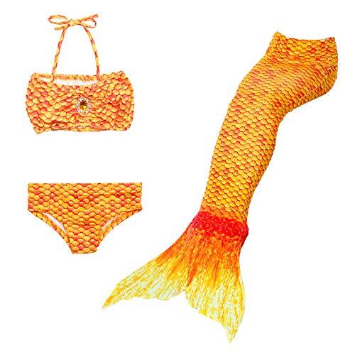 Lito Angels Meerjungfrau Flosse Bikini Set für Kinder Mädchen, Meerjungfrauenschwanz Schwimmen Kostüme, Größe 8-9 Jahre 134, Orange