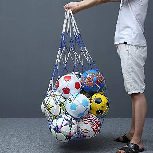 DUCHEN - Bolsa de red de entrenamiento para balones de fútbol, bolsa de almacenamiento extra grande, bolsa de almacenamiento de malla para baloncesto, gimnasio, voleibol, bolsa multideporte y rugby, Unisex adulto, azul