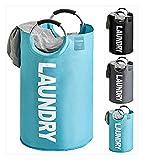 LY-Rack Cesta de lino extragrande y cesta de lino plegable portátil impermeable para cuarto de baño, niños 82 L moderno 15 pulgadas de ancho x 29 pulgadas de alto color azul (color: azul)