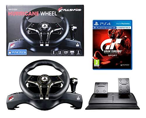 Volant et pédales PS4 GT Sport [Gran Turismo Sport] Originale Sous licence PlayStation 4 - FlashFire - 2 axes, 12 boutons, fonction de vibration, commutation manuelle