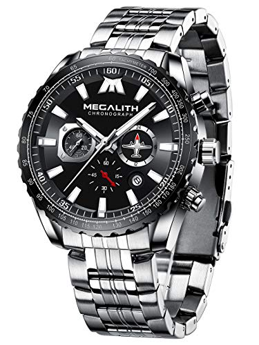 MEGALITH Herren Uhr Männer Militär Chronographen Wasserdicht Groß Designer Schwarz Edelstahl Armbanduhr Blau Elegant Business Analog Uhren