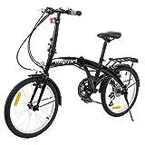 Bicicleta plegable de MuGuang, 20 pulgadas, 7 marchas, con lámpara de batería LED, soporte trasero, plegable, color negro