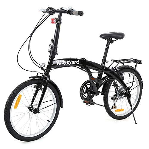 Ridgeyard Bicicletta pieghevole piegabile a 6 rapporti 20 pollici con luce posteriore a LED con staffa posteriore (nero)