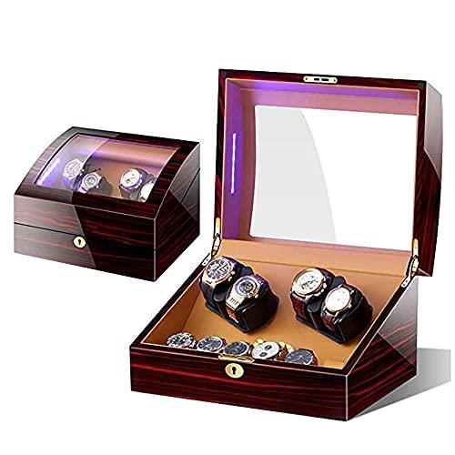 ADSE Accesorios para Relojes Bobinadoras de Relojes Quad Automatic Watch Winders - Motores silenciosos y con luz LED para Cajas de Almacenamiento de exhibición de 4 + 6 Relojes-E