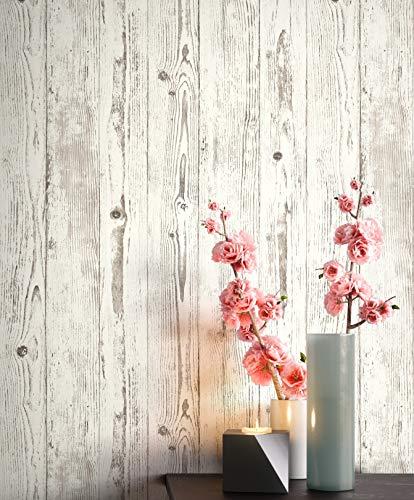 NEWROOM Tapete Weiß Vliestapete Holz - Holztapete Modern Grau Creme Brett Balken Holzwand Rustikal Naturholz Paneele inkl. Tapezier-Ratgeber