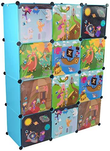 KEKSKRONE Sehr Großer Kinderschrank Bunte Motiv-Türen - DIY Stecksystem - 12 Module je 37 x 37 x...