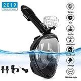 Maschera da Snorkeling Snorkel Mask 2018 Le più recenti maschere da sub con vista a 180 ° e supporto GoPro Easy Breathe (L / XL)