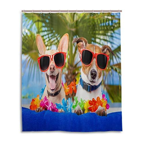 CLSNMSNHEBG Cortina de ducha de 152 x 182 cm, con ganchos, gafas de sol y palmera de verano, poliéster impermeable para baño