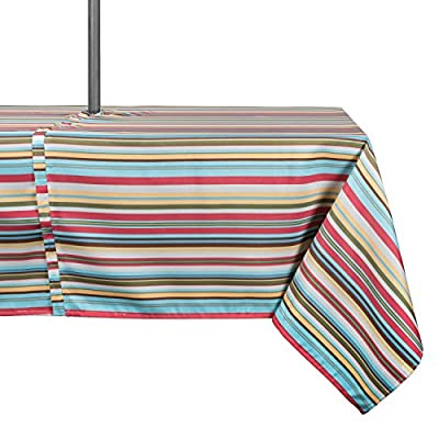 "DII Spring & Summer Outdoor Tablecloth, Spill Proof and Waterproof with Zipper and Umbrella Hole, Host Backyard Parties, BBQs, & Family Gatherings - (60x84"" - Seats 6 to 8) Warm Summer Stripe"