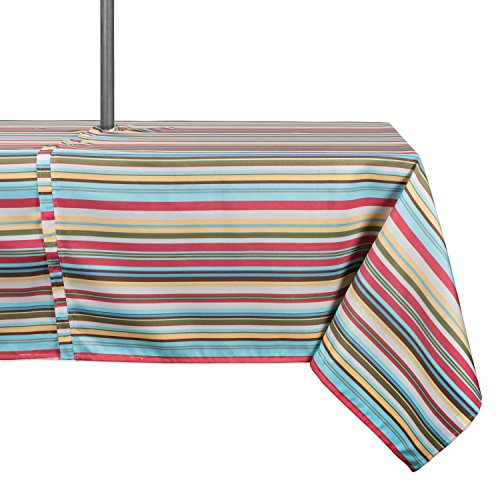 DII Spring & Summer Outdoor Tablecloth, Spill Proof and Waterproof with Zipper and Umbrella Hole, Host Backyard Parties, BBQs, & Family Gatherings - (60x120 - Seats 10 to 12) Warm Summer Stripe