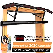 AmazeFan Pull Up Bar Doorway with Ergonomic Grip - Fitness Chin-Up Frame for Home Gym Exercise - 2 Professional Quality Wrist Straps + Workout Guide - No Installation Needed(Fits Almost All Doors)