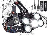 Linterna frontal LED Recargable de Trabajo, 8000 Lúmenes, 4 Modos de Luz con Flash, Zoom in/out, Ligera Elástica, Impermeable para Ciclismo, Correr, Deportes Nocturnos...