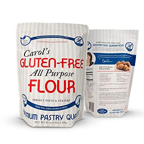 Carol's Gluten Free Flour All Purpose 1 to 1 for Bread Baking, Pizza Dough, Cookie mix, Gluten Free Snacks | a Dairy Free Mix of White Rice/Glutinous Rice Flour, Potato Starch, Tapioca Starch 5 lb bag
