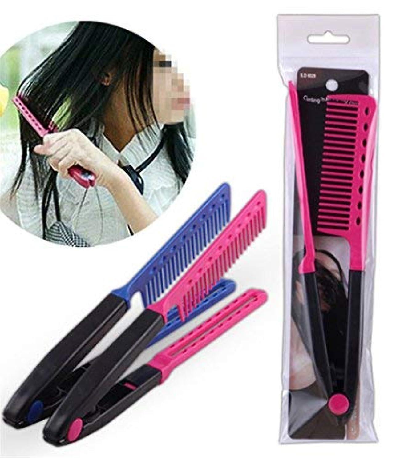 傷つきやすい気味の悪い管理者1Pc DIY Salon Hair Brush Combs Hairdressing Styling Hair Straightener V Shaped Straight Comb Color Random [並行輸入品]