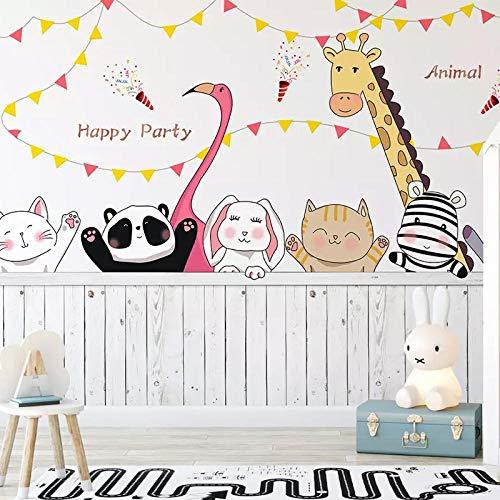 Cisnks Wandbild Fototapete Für Kinderzimmer Cartoon Niedliche Katze Giraffe Kaninchen Tier Selbstklebendes Wandhintergrundplakat 3D200X150 Cm (Wxh) 4 Pcs - Self-Adhesive Prinzessin Zimmer Kindergarte