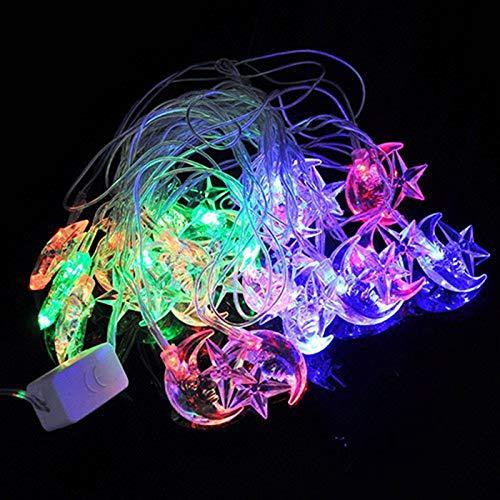Lichtsnoer met 20 leds, RGB, sterren, maan, buitenverlichting, nieuwjaar, decoratie, slinger, verlichting voor familie, feest, bruiloft
