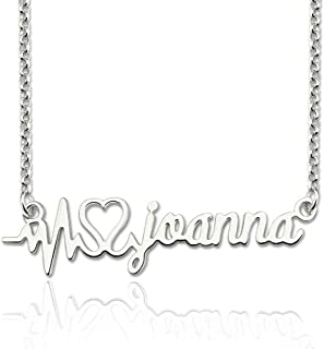 Sterling Silver Heartbeat Style Custom Name Necklace, Handmade Personalized Name Pendant Necklace Jewelry Gift for Her