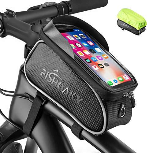 FISHOAKY Borsa Telaio Bici, Impermeabile Borsa da Manubrio per Biciclette, Touch Scree Porta Telefono MTB Borsa Porta Cellulare Bici Borse Biciclette per iPhone XS/X/Samsung S9/S8 Fino a 6,5