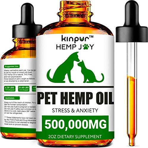 Natural Hemp Oil for Dogs & Cats - 500,000mg - Pet Hemp Oil - Supports Mobility, Hip & Joint, Immune System - Calming Treats for Dogs - Made in Usa