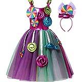YiZYiF Vestido Fiesta sin Mangas de Verano para Niñas Vestido de Malla de Tutú con Apliques de Flores en 3D con Aros para Pelo para Princesa Multicolor 5-6 años