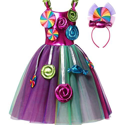 TiaoBug Vestido Nia Fiesta sin Manga Vestido de Princesa Tut Malla Vestido Largo Nias Disfraz de Fiesta Cosplay Carnaval Actuacin Chica Colorful 3-4 aos