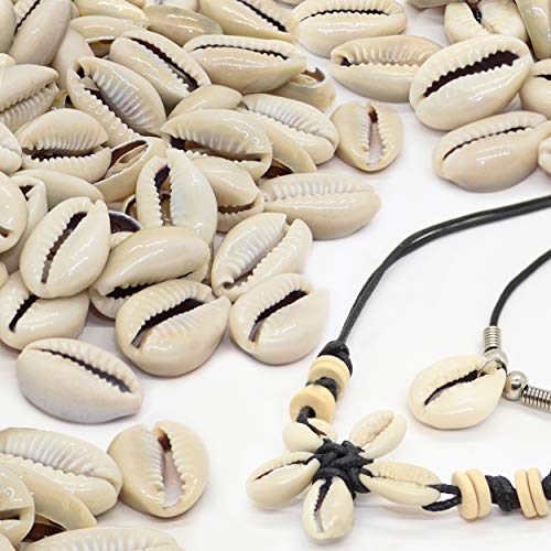 Fun-Weevz 150 Genuine Cowrie Shells for Jewelry Making Adults, Natural Smooth Cut Cowrie Shell Beads for Necklace and Bracelet, Puka Shells Bulk, Beachy Surfer Seashells Home Decor, Includes Wax Cord