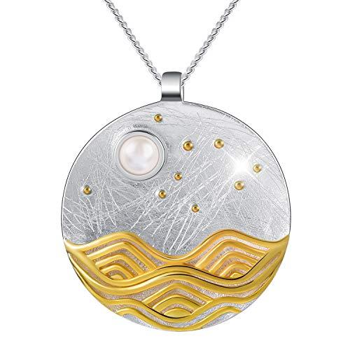 Lotus Fun S925 Sterling Silber Damen Halskette Anhänger Mondschein auf dem Meer Anhänger mit Halskette Kettenlänge 43cm.Handgemachte Einzigartige Schmuck. (Sliber)