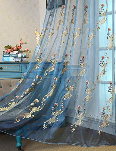 lactraum Salón Dormitorio Jardín de invierno de trabajo habitaciones regalo 1er Pack con ojales cortina bordado Agua Hada Flores 145 x 245 cm(B x H)