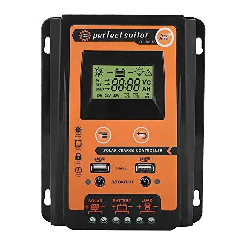 MPPT Controlador de carga solar 12V / 24V Panel solar Controlador de batería Panel USB doble LCD Regulador de corriente Pantalla 30A 50A 70A Negro + Naranja (30A)