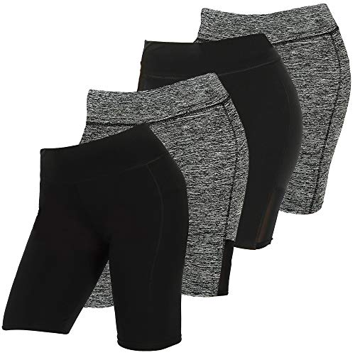 C CRUSH ORIGINAL 4 Pack Mesh Insert Yoga Shorts for Women with Pocket Legging Shorts, Black and Gray, 3X