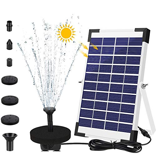 AIMTOP 5W Solar Springbrunnen Pumpe 2020 Upgraded Solar Teichpumpe, Solar Wasserpumpe Set für Gartenteich, Teich, Springbrunnen, Fisch-Behälter, Vogel-Bad, Solar Schwimmender Fontäne Pumpe