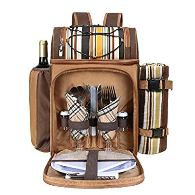 Hap Tim Picnic Backpack for 2 Person with Insulated Large Cooler Compartment, Wine Holder, Fleece Blanket, Cutlery Set, Perfect for Beach, Concert, Camping, BBQ, Lovers Gifts