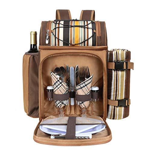 Hap Tim Picknick-Rucksack für 2 Personen mit isoliertem großem Kühlfach, Weinhalter, Fleecedecke, Besteck-Set, perfekt für Strand, Konzert, Camping, Grillen, Liebhaber Geschenke