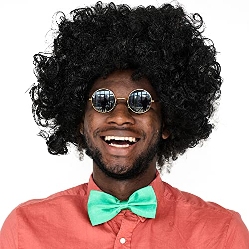 Peluca Afro Pop Peluca de Disfraz de Discoteca Peluca Corta Rizada Ondulada con Flequillo Peluca de Estilo Africano Accesorio de Peluca de Payaso de Fiesta de Halloween para Adulto, Negro