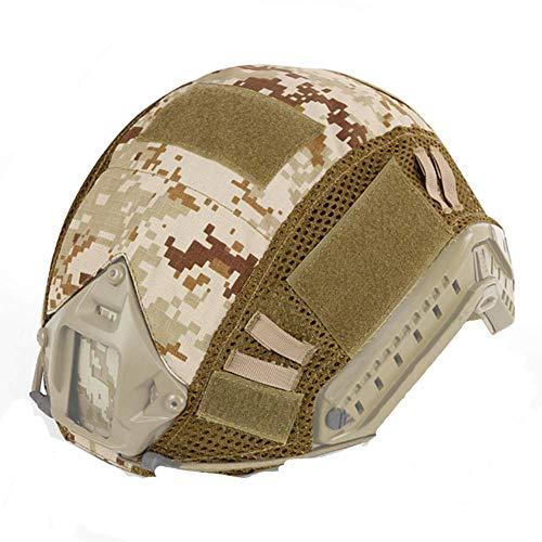 ATAIRSOFT Airsoft Tactical Helmet Cover para PJ/BJ/MH Tipo Casco rápido con Bolsa Trasera (Desert Digital)