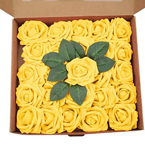 SENDILI 25 Stück Künstliche Rosen Blumen - Schaumrosen Foamrosen Kunstblumen Rosenköpfe Gefälschte Kunstrose Rose DIY Hochzeit Blumensträuße Braut Zuhause Dekoration, Gelb